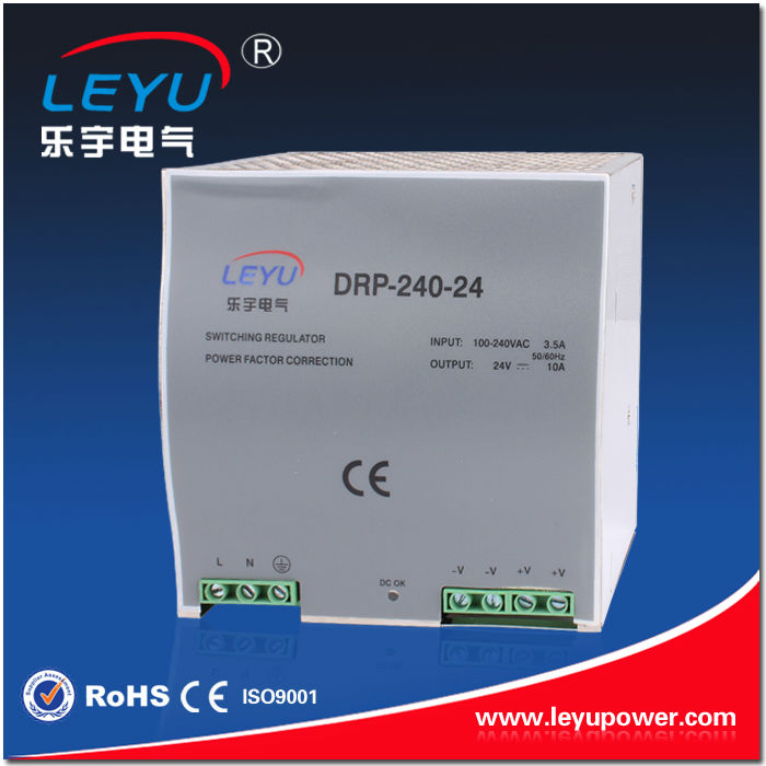 LEYU Brand CE RoHS approval DR-240-48 high quality din rail power supply with PFC function and 100-240VAC wide voltage input ce rohs standard formaldehyde monitor with temper and rh