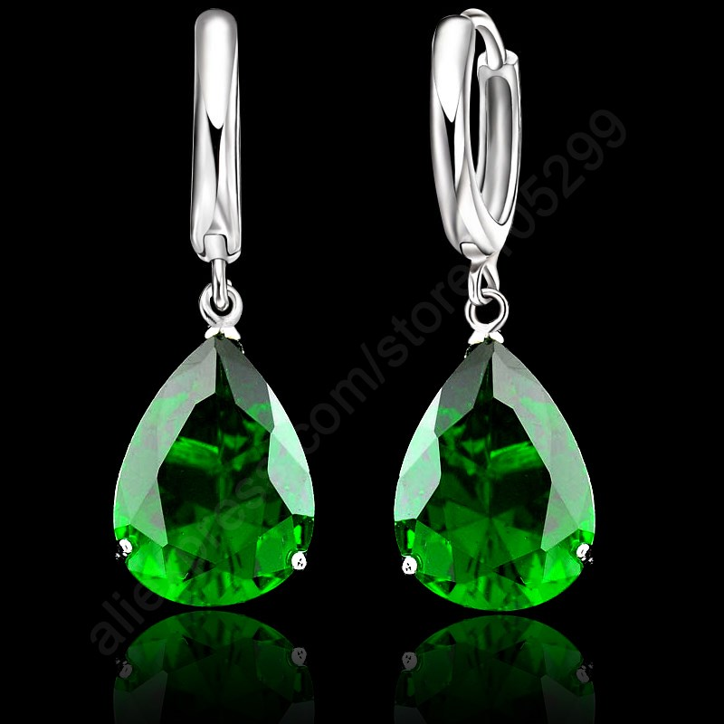 JEXXI Elegant AAA Shiny Water Drop Crystal 925 Sterling Silver Lever Back Woman Jewelry Earring For Wedding Engagement