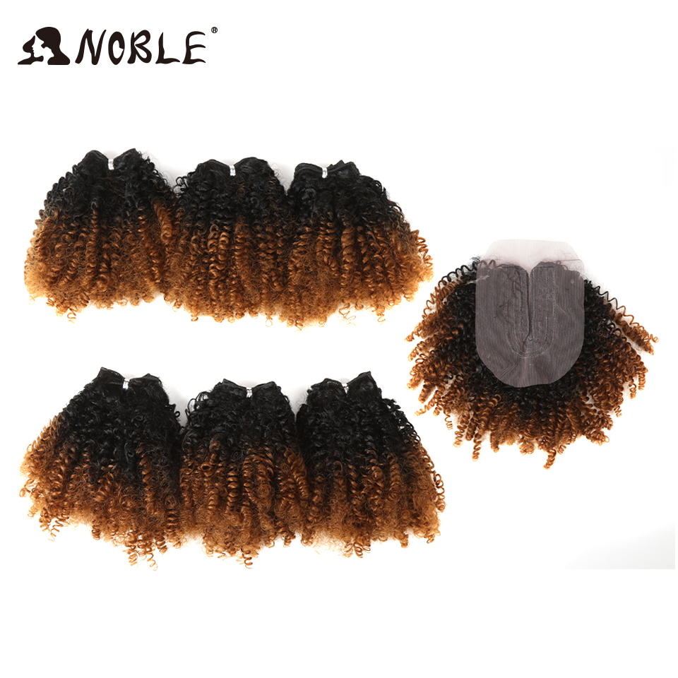 Noble Afro Kinky Hair-Bundles Closure Synthetic-Hair-Extensions Curly Ombre Black-Women