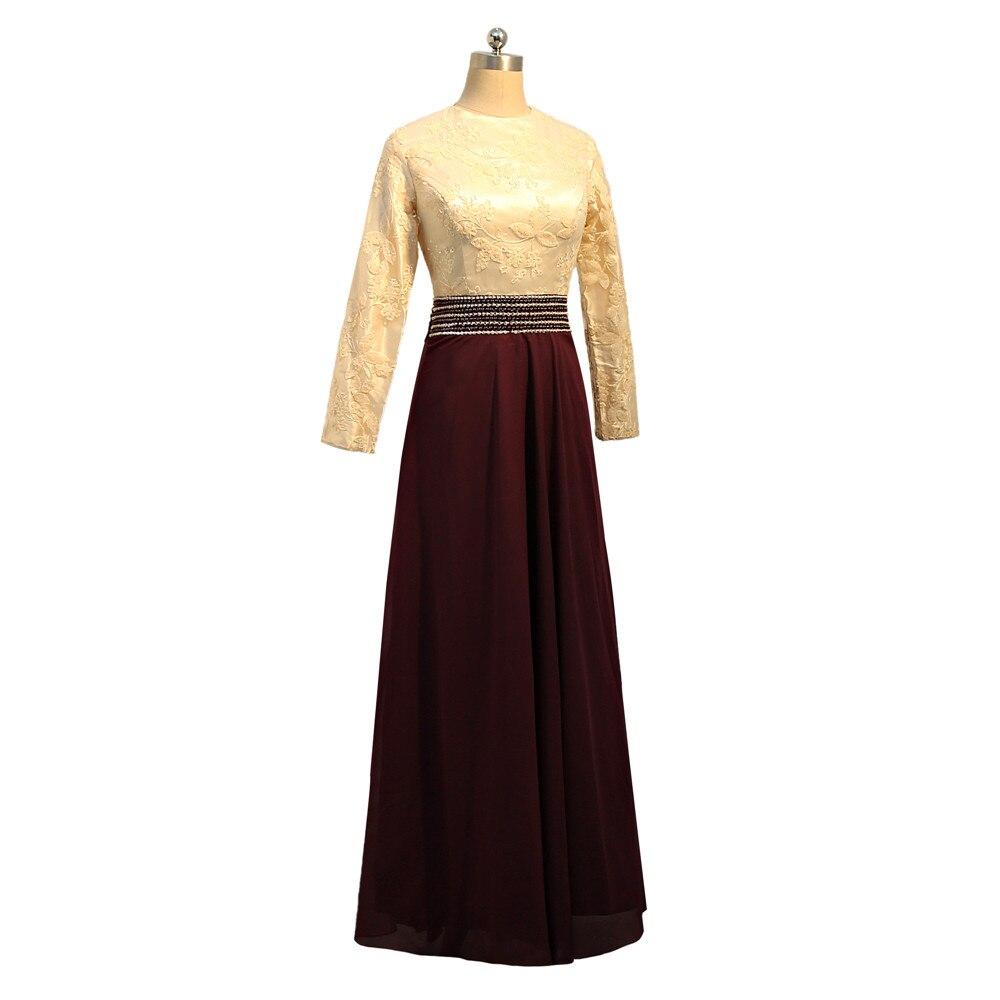 Vestidos de Noche musulmanes morados 2019 A line de manga larga de gasa lentejuelas cuenta islámica Dubai Kaftan saudí árabe vestido de noche largo - 4