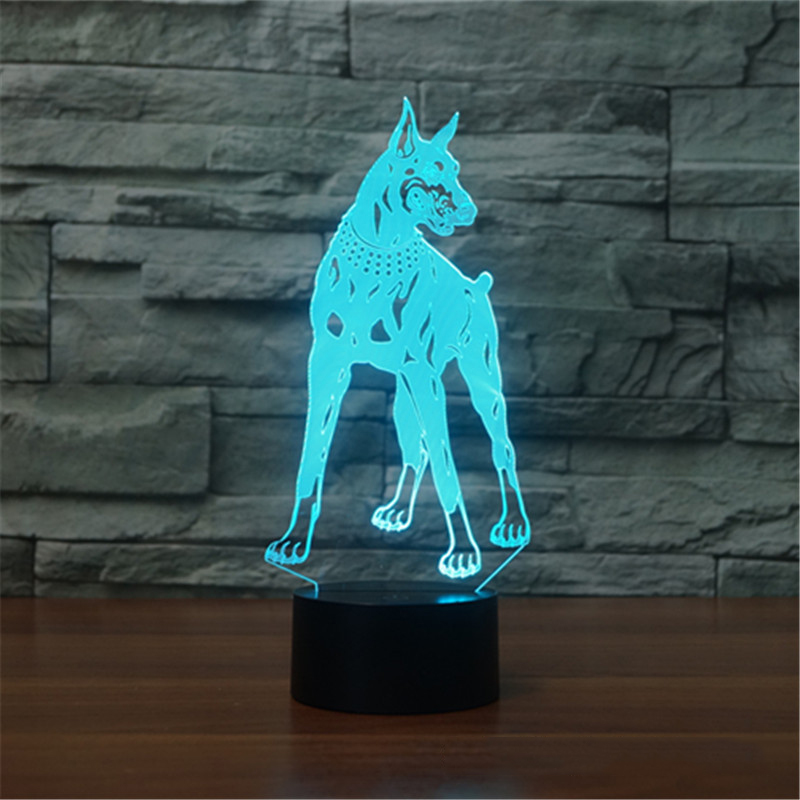 3D Dobermann Pinscher LED Table Lamp USB Dog Nightlight 7 Colors Kids Room Decor Sleep Light Fixture As Christmas Novelty Gifts 3d luminous ice hockey player shape led table lamp 7 colors changing home living room decor light fixture baby sleep night light