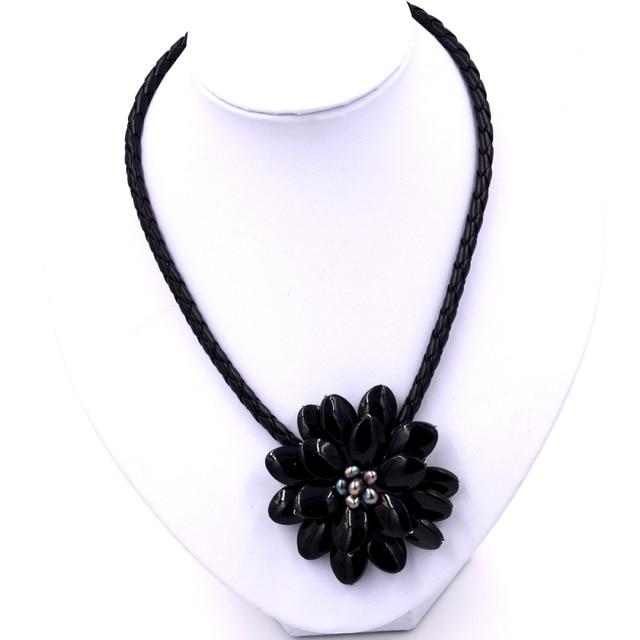 2017 trendy fashion fashion flower black onyx pendant necklace for 2017 trendy fashion fashion flower black onyx pendant necklace for womens new fashion jewelry dress accessories aloadofball Image collections