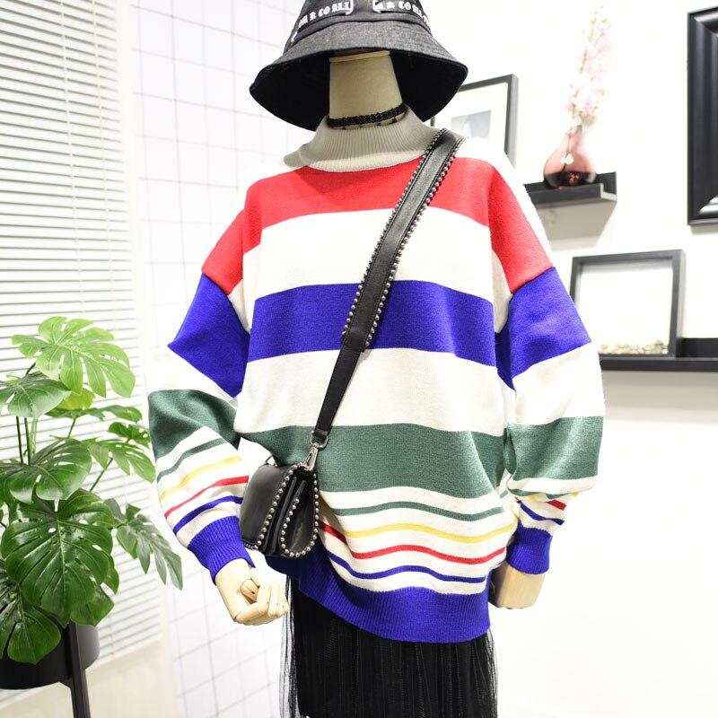 Automne hiver femmes pull à rayures tricoté couleur longue manches chauve-souris vêtements d'extérieur demi-col roulé pull pull hauts
