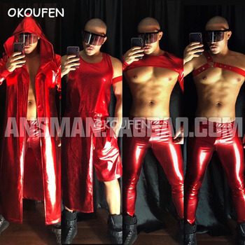 Nightclub male singer dancer Red dazzle color theme party costumes suits stage show dance set