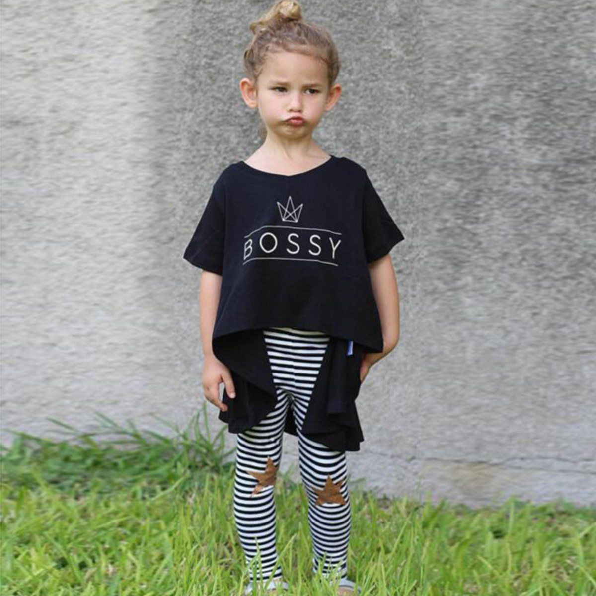 2PCS Toddler Kids Baby Girl Bossy Letter T Shirt Tops Pants Leggings Outfit Clothes Set Irregular Shirt Dress+Pants Clothes Set fluffy straight ponytail side bang heat resistant synthetic anti alice hair cosplay wig