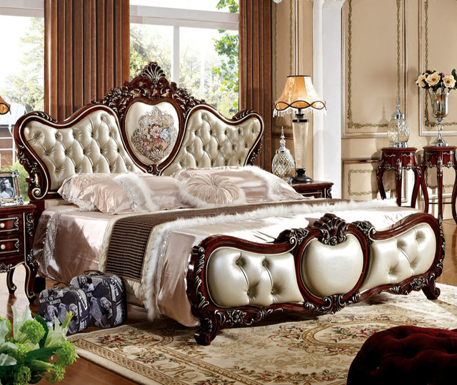 1.8 Meters Double Bed French Leather New Wedding Bed Princess Bed ...