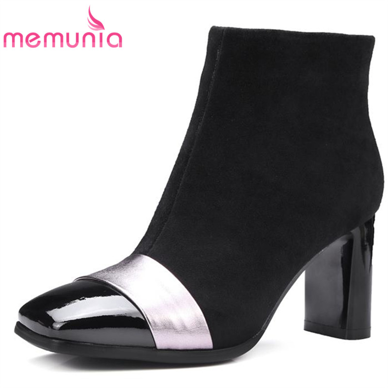 MEMUNIA 2018 new fashion cloth+genuine leather boots women square toe autumn winter ankle boots zipper mixed colors shoes woman printing new boots 2015 autumn winter genuine leather mixed colors thick with pointed toe woman boots stylish comfortable shoes