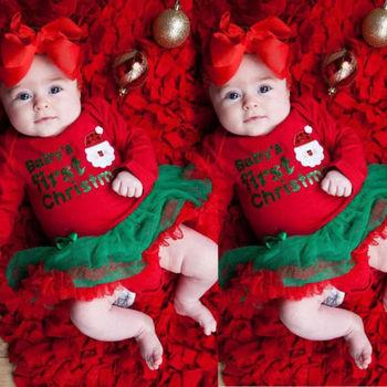 Vestido Rojo My First Christmas para niñas pequeñas, Pelele de princesa, Vestido de manga larga con tutú, vestido de Navidad para niños pequeños, vestido de fiesta de Santa