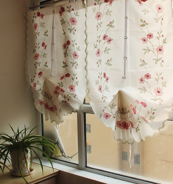 1 Piece Rose Flowe Printed Roman Curtain For Living Room Finished Pull Up Cloth