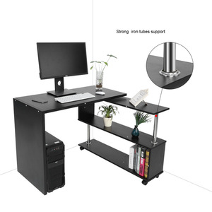 Image 3 - 360 Degree Rotatable L Shaped Corner Computer Office Desk With Book Shelves Home Desk Commercial Furniture