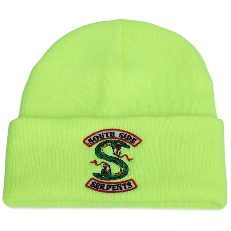 2019 New Fashion Riverdale South Side Serpents Embroidered Knit Beanie Women Men Winter Casual Hat Soft Cap Warm Cotton Thicken