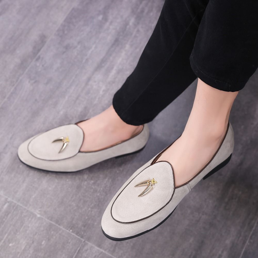 LAISUMK Golden Metal Horns Decoration Doug Shoes Elegant Men Casual Loafer Shoes Plus Size Flat Party Club Shoes in Formal Shoes from Shoes