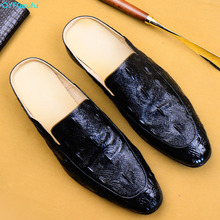 QYFCIOUFU Luxury Crocodile Grain Slip-On Oxfords Shoe Men Casual Fashion Pointed Toe Dress Shoes New Design Dropshipping US 11.5