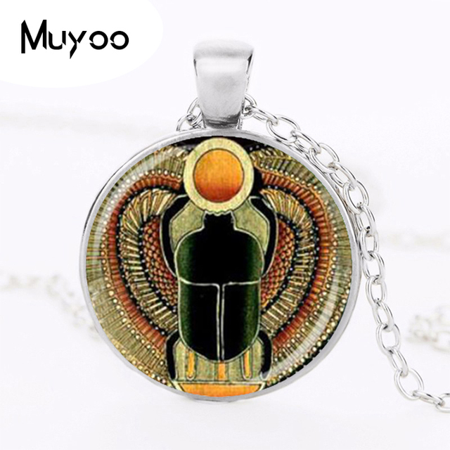 Symbol Of Strength Egyptian Scarab Glass Dome Pendant Necklace