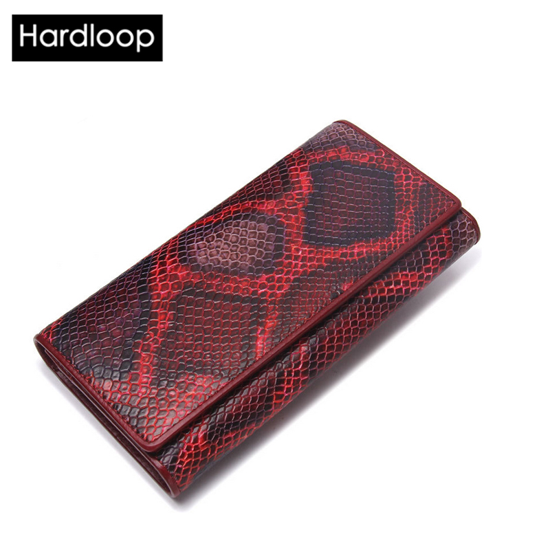 ФОТО Hardloop 2017 Long Serpentine Women's Wallet and Purses Real Cowhide Leather Money Bag for Women Cell Phone Pocket Hasp Fashion