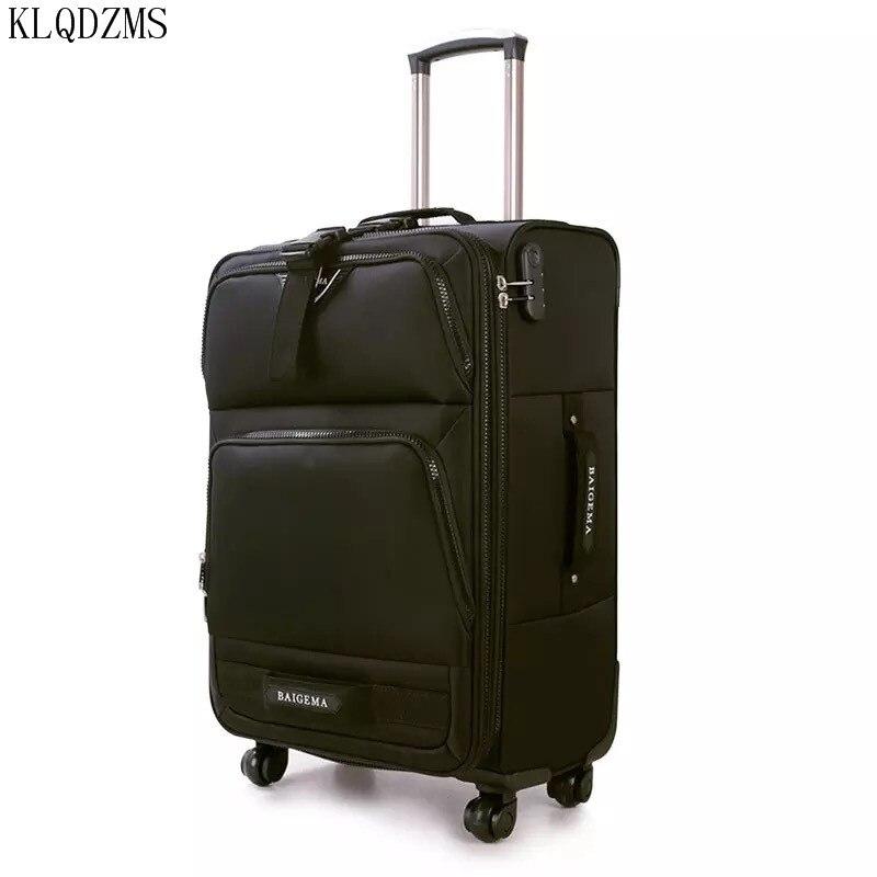 KLQDZMS 20/24/28 polegada de Alta qualidade à prova d' água de pano de Oxford trole caso bagagem bagagem rolando mala de viagem sobre rodas