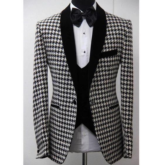 Latest Coat Pant Design White Black Pattern Shawl Lapel