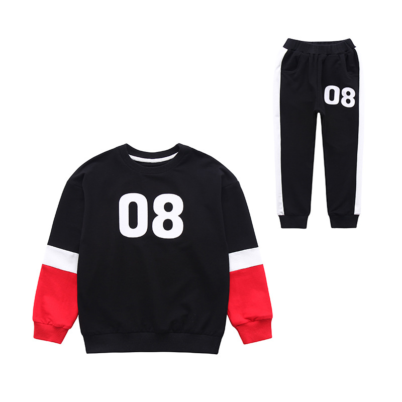 Baby Boy Clothes 2018 Toddler Kids Autumn Clothing Set Full Sleeve Pullover+black Pants 2Pcs for Boys Teenager Solid Sport Suits цена
