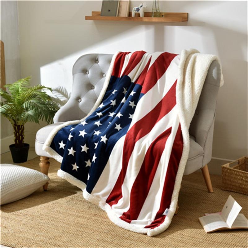 Livraison gratuite Style britannique UK us drapeau agneau polaire hiver couverture épaisse flanelle couverture paresseux bureau literie jette sur canapé/lit