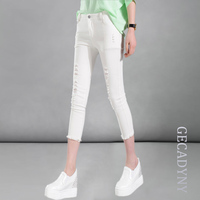 Summer Style White Holes Ripped Jeans Women Jeggings Cool Denim Mid Waist Pants Capris Female Skinny