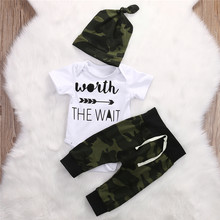 3pcs Newborn Baby Clothes Camouflage Kids Suit Worth The Wait Baby Romper Jumpsuit+Pant+Hat Outfit Bebek Giyim Child Clothing(China)