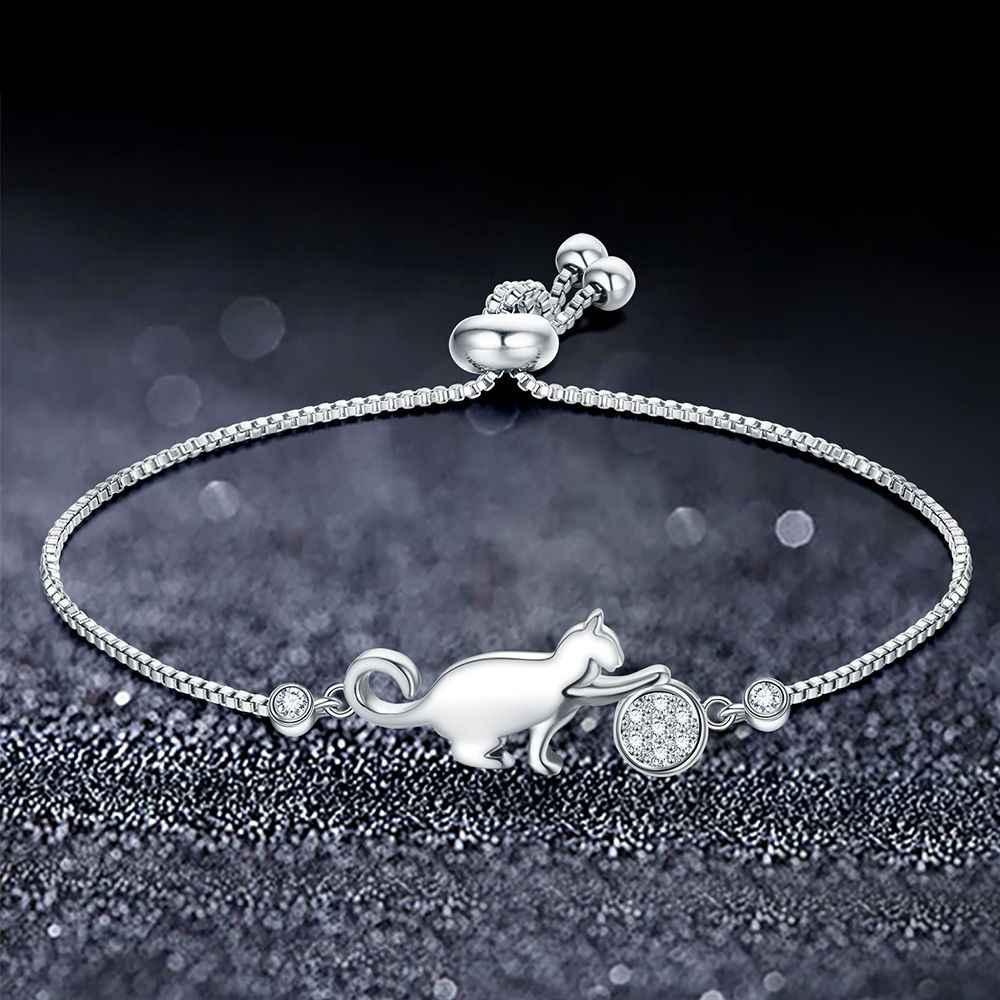 ロマンチックなかわいい猫調節可能なチャームブレスレットクリアキュービックジルコニアのための宝石類のギフト