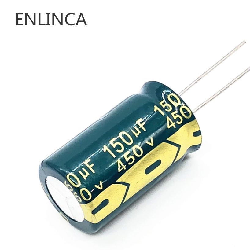 2pcs/lot RA03 <font><b>450V</b></font> <font><b>150UF</b></font> size 18*30MM high frequency low impedance 400V150UF aluminum electrolytic <font><b>capacitor</b></font> image