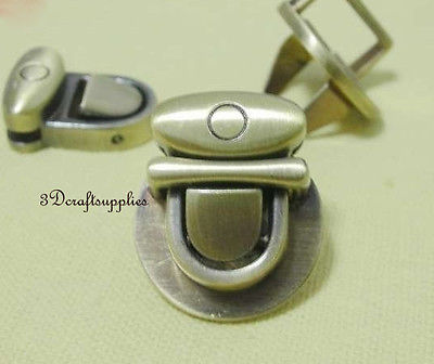 purse lock wallet Thumb latch tongue clasp anti brass 1 3/8inch x 1 1/4 inch E59