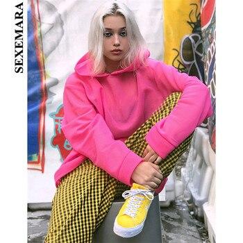SEXEMARA Neon Hot Pink Fleece Hoodies Women Streetwear Kpop Casual Loose Cute Sweatshirts Pullover Trendy 2019 C84-AE99 tights