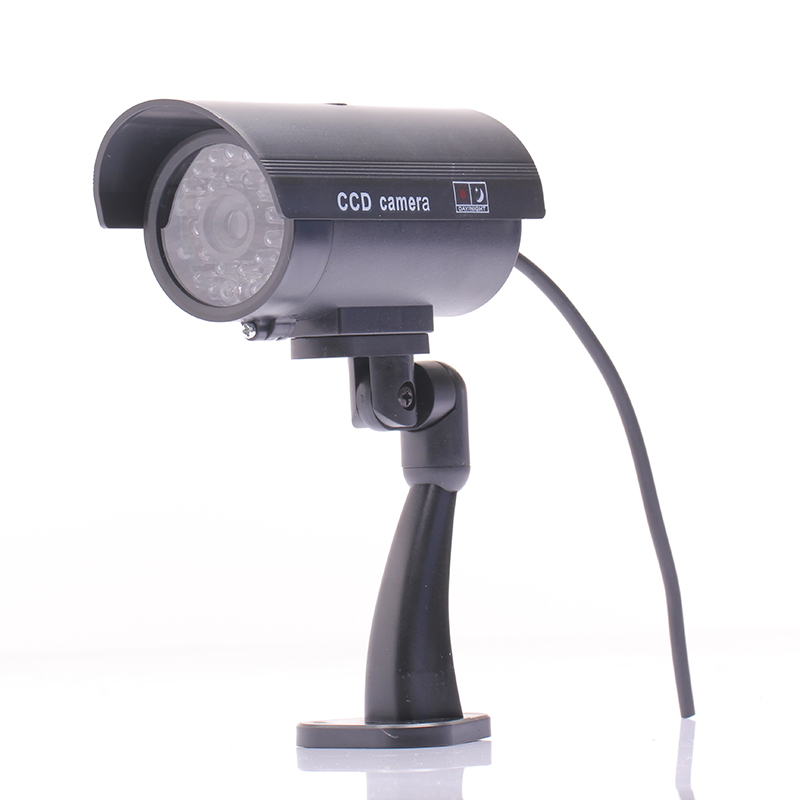 Waterproof outdoor indoor fake camera security dummy cctv surveillance camera night cam led light black color
