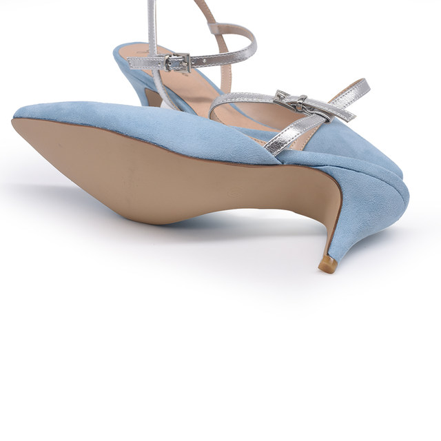 2401f3ea0bbfd GENSHUO Slingback Mid Heels Suede Pointed Toe Stiletto Sky Blue Party Pumps  Strap Ladies Kitten Heels Shoes Small Size 34-40