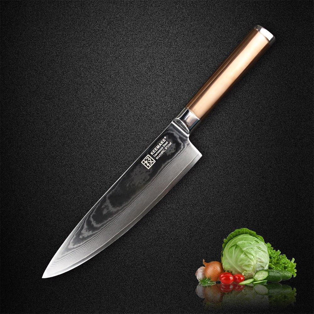 SUNNECKO 8 pouces Chef Couteau Japonais Damas VG10 Lame En Acier Couteaux de Cuisine En Acier Inoxydable Poignée avec Titane Or Cutter