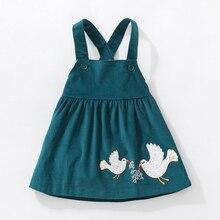 新しい秋ガールのドレスストレッチコーデュロイワイド春ドレス平和鳩布刺繍かわいい秋子供ベストドレス 2  7 Y