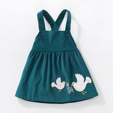 New Autumn Girl Dresses Stretch Corduroy Wide Spring Dresses Peace Dove Cloth Embroidered Cute fall kids Vest Dress 2 7 Y