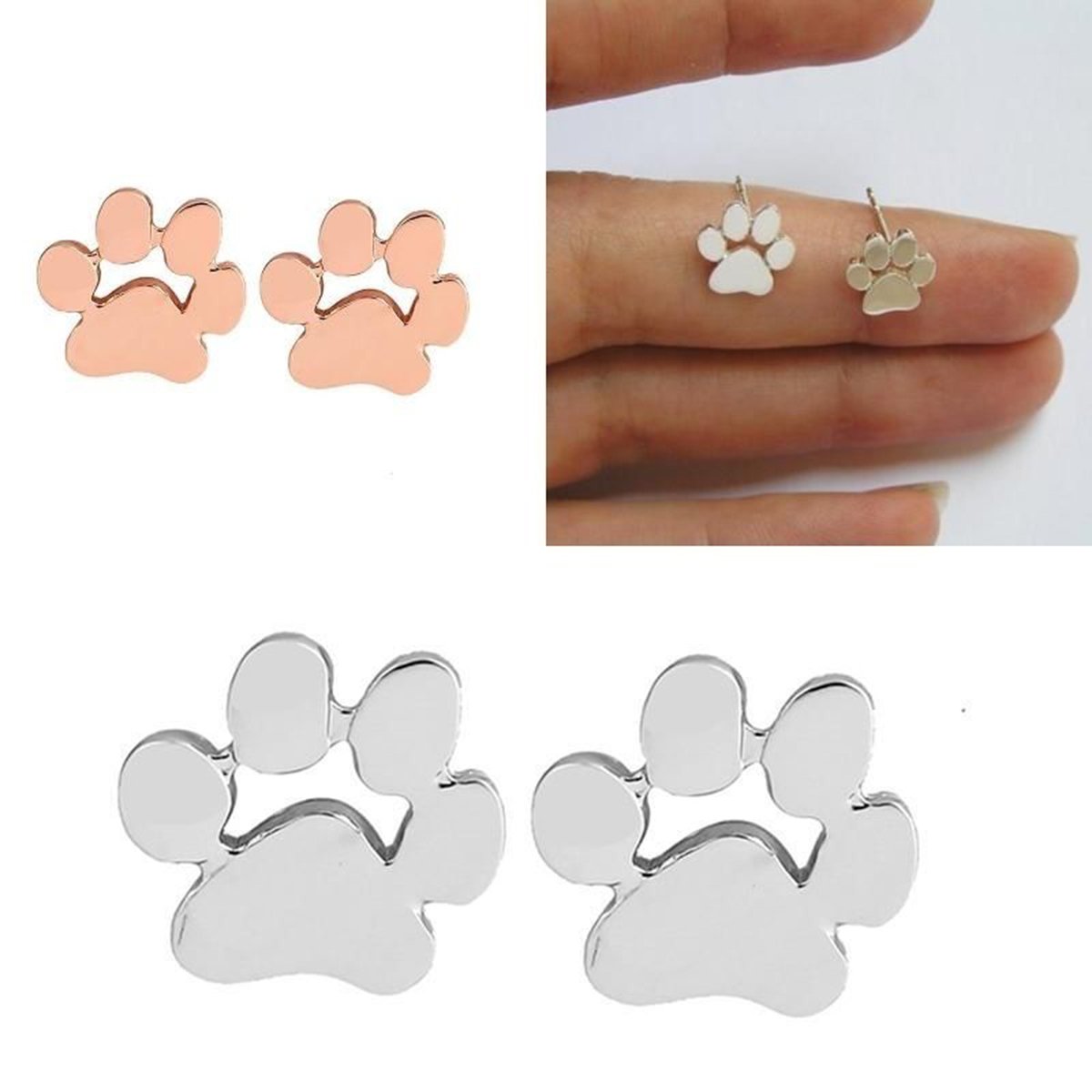 bling jewelry kids stud petite bone paw dog az appl silver sterling puppy earrings je