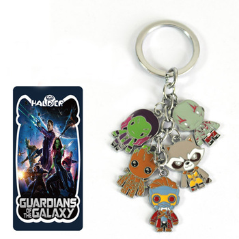 Guardians of The Galaxy Keychain Rocket Raccoon, Groot,  Star Lord, Gamora and Drax 1