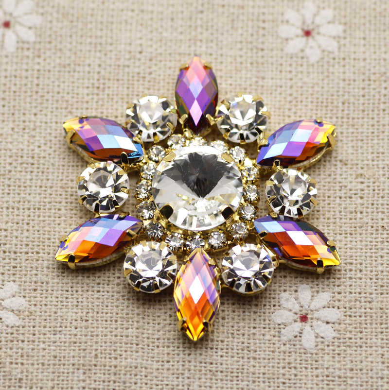 71b5312a7f 50mm Flower Shape crystal Sew On Rhinestone With Claw Setting Silver Back  Fancy Stone Rhinestone applique Buttons For Garments