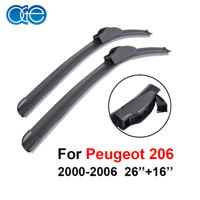 Hoja de Limpiaparabrisas del coche Para Peugeot 206 (2000-2006) 26 ''+ 16'' Soportes De Caucho De Silicona parabrisas Del Coche Accesorios