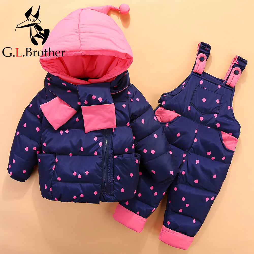 все цены на 0-4 Years Baby Girls Boys Clothing Sets New Kids Winter Clothes 2pcs Skiing Suits Polka Dot Down Jacket+Jumpsuit Infant Snowsuit