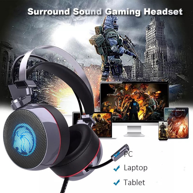ZOP N43 Stereo Gaming Headset 7.1 Virtual Surround Bass Gaming Earphone Headphone with Mic LED Light for Computer PC Gamer 4