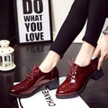 Lace up Platform  Shoes Oxfords Shoes Women Spring Fall Women Shoes Soft PU Leather Women High Heels Casual Shoes 132