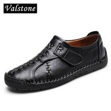 Valstone 2018 NEW handtailor Genuine Leather Shoes Men hook&loop soft Loafers moccasins gommino vintage classical flats hombres