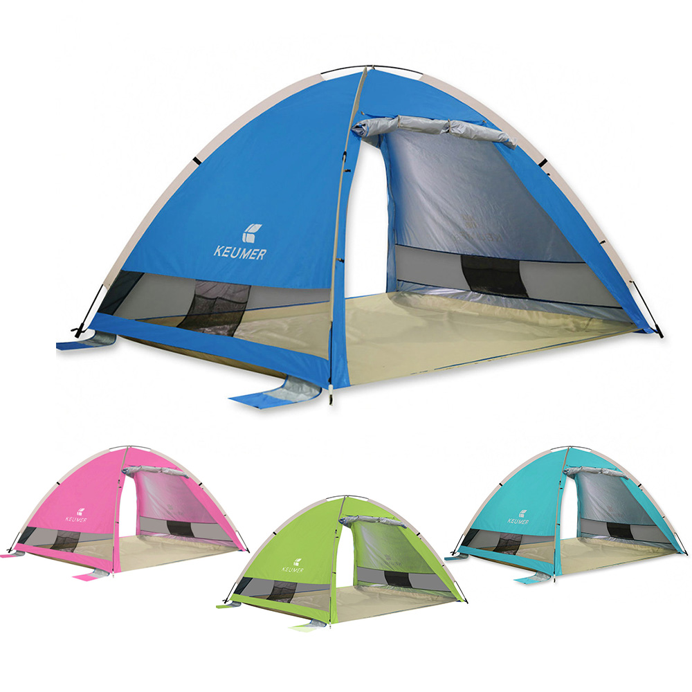 KEUMER UV Protection 3 4 People Beach Tent Automatic Pop Up Open Camping Tent Outdoor Cabana Sun Shelter Waterproof Beach Tent-in Tents from Sports & Entertainment    1