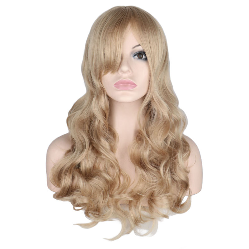 QQXCAIW Long Wavy Natural Mixed Blonde Wig Women  Party Lady Heat Resistant  Synthetic Hair Wigs