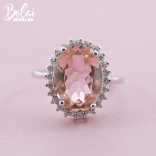 Bolai Diana style nano morganite ring  925 sterling silver pink gemstone oval 10*14mm fine jewelry for women wedding engagement