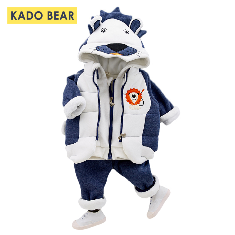 Newborn Baby Boy Hooded Warm Winter Coats Clothes Cartoon Thick Clothing Set Autumn Girl Outfit Kids Outerwear Sport Suit 3 Pcs brand new 2016 kids clothing set newborn infantil girl clothes baby wear children sport suit baby girl 2 pcs hoodies