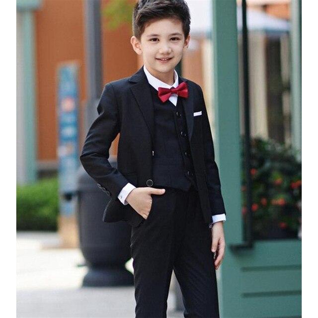 31f36e76d82c8 € 54.45 18% de DESCUENTO|Negro Niños Trajes para la boda prom Boy Trajes  formal trajes para Niños niños Tuxedo blazer infantil ropa 3 (chaqueta + ...