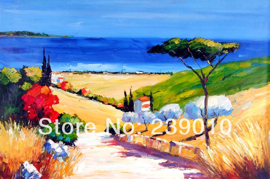 griego hermoso paisaje de imagen en la lona mar mediterrneo pintura al leo lienzo e