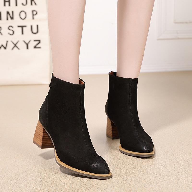 Grueso Tacón Vallu Bloque black Cremallera brown Zapatos Botas Invierno Nieve Las Caliente Short 2018 Negro De Mano Plush Cuero A marrón Hecho Alto Damas Plush Mujeres 616rOwxq7