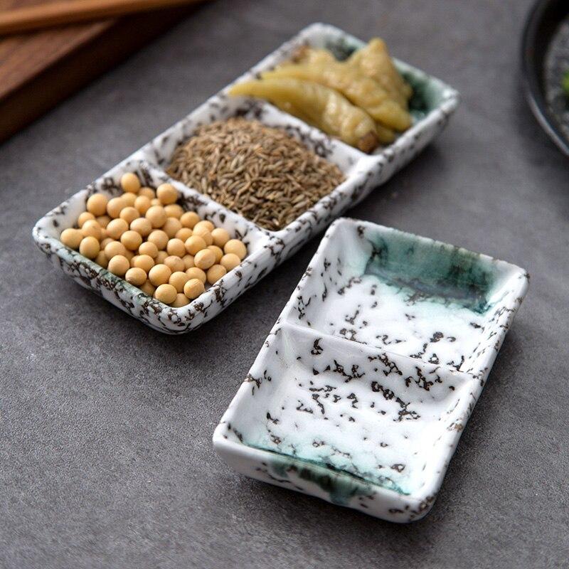 1pc Rectangular Ceramic Tray Divided Sauce Dish Sushi Plate Dinner Plates Ceramic Plate